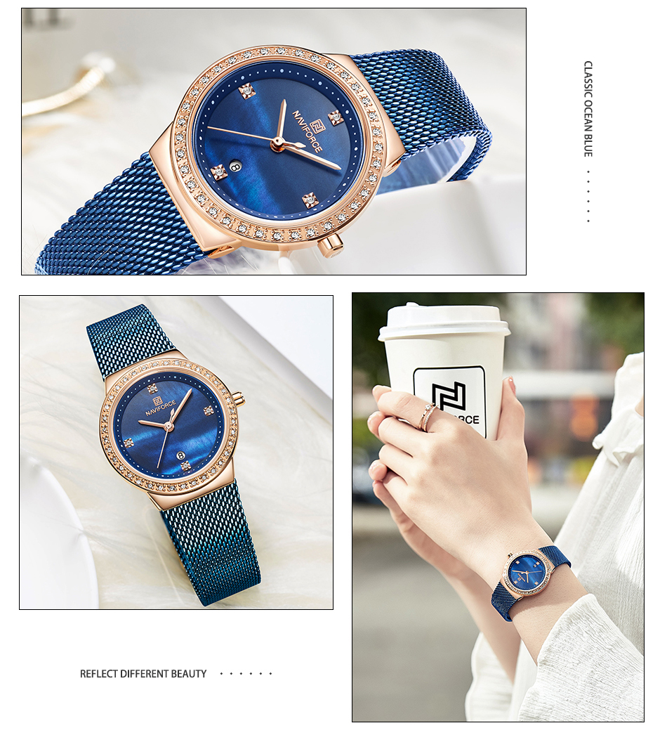 NAVIFORCE New Rose Gold Women Watch Business Quartz Watch Ladies Top Brand Luxury Female Wrist Watch Girl Clock Relogio Feminin (7)