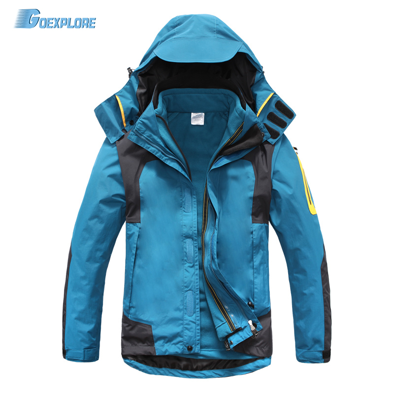 Dropshipping new Windstopper waterproof Warm Windbreaker 3 in 1 Jacket double layer winter Ski Outdoor hiking jackets for men цена