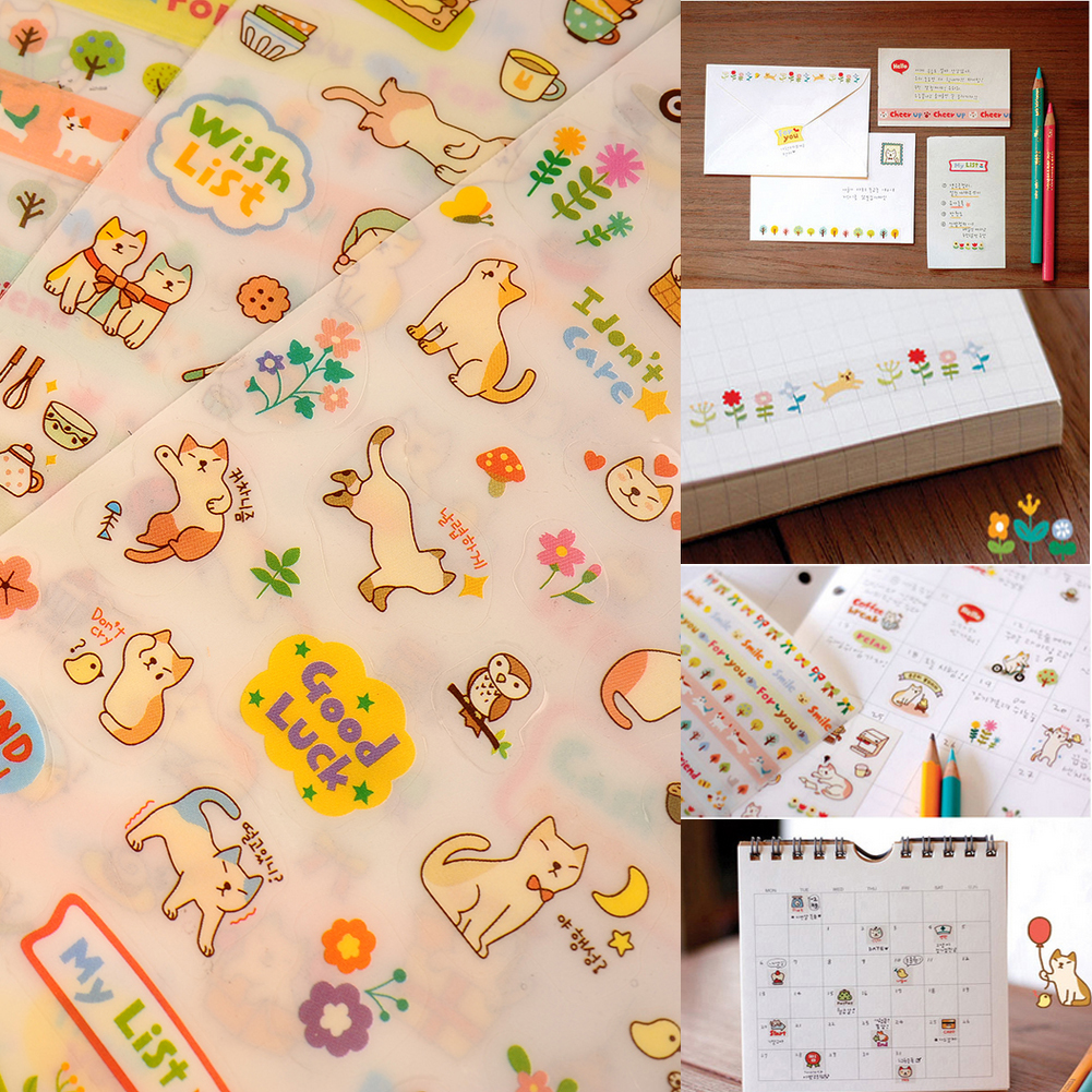 Scrapbook paper books - New Lovely 6 Sheet Cat Paper Stickers For Diary Scrapbook Book Wall Photo Decor Skin Diy
