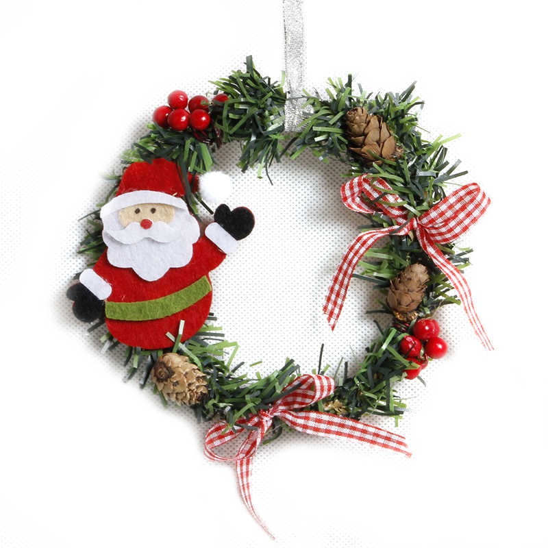15cm Small Christmas Wreath Cartoon With Pines Merry Christmas Wreaths Mini Xmas New Year Garland Nice Gift Xmas Wreath Dia
