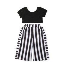 Toddler Kids Baby Girls Fashion Outfits Clothes Babies Cropped Shirt Top Tops+Stripe Long Pants 2PCS Set 1-6T 2019