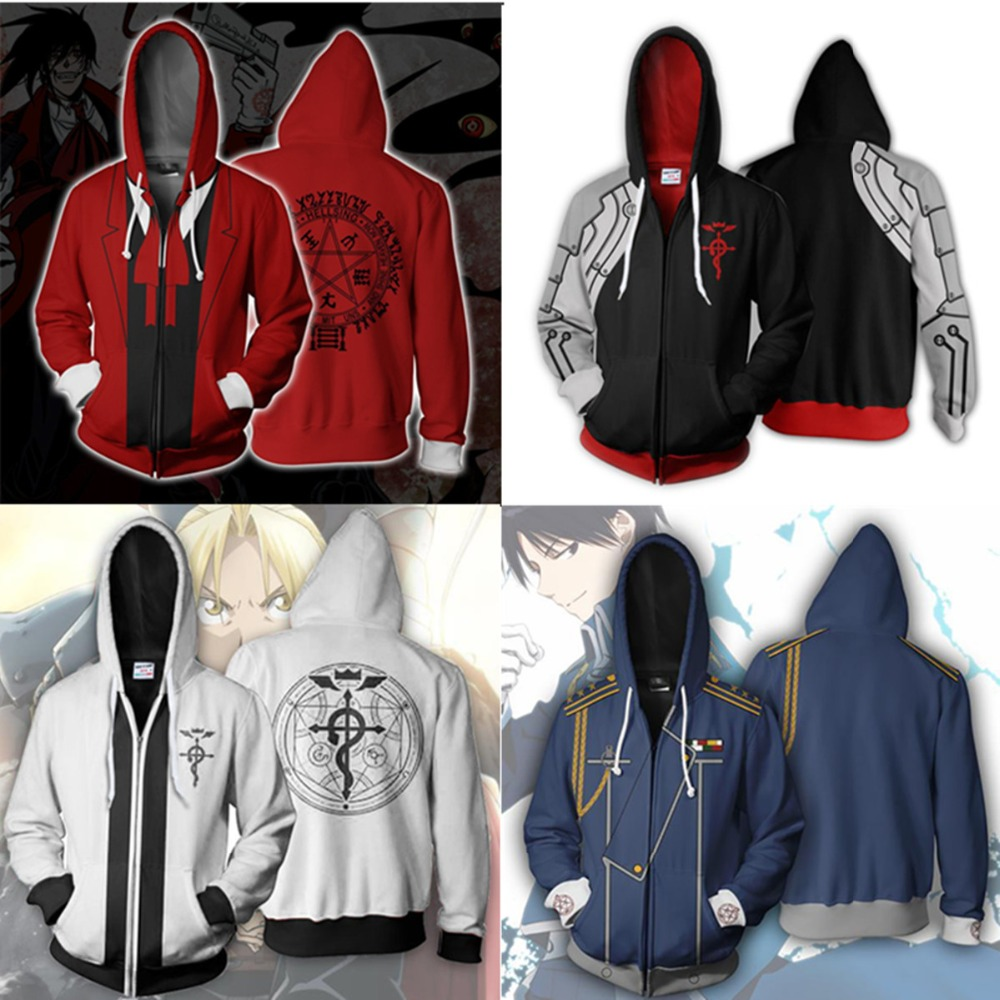Fullmetal Alchemist Hoodie Adult Anime Hooded Sweatshirt Cosplay Cosplay Costume
