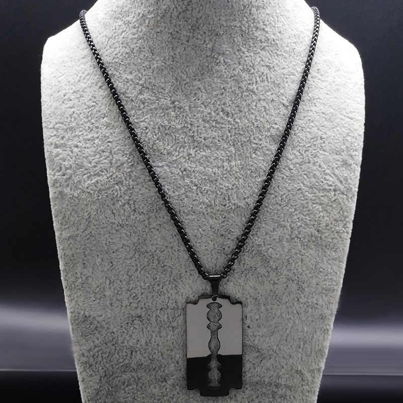 2019 di modo di Lama In Acciaio Inox Collane Uomini Jewerly Colore Nero Gotico Collane & Pendenti con gemme e perle Gioielli collier homme N423S01