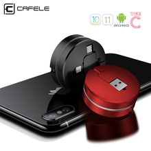 Cafele 3 in 1 Retractable USB Cable 8 Pin Micro Type C USB cable for iPhone X 8 7 6s 100cm Data Sync USB Cable for Xiaomi Huawei
