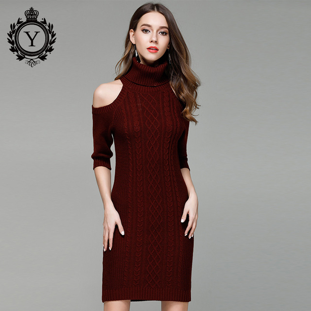 e4f11514878f9d COUTUDI 2018 Winter Sweater Dress for Women Christmas Solid Black  Turtleneck Sweater Dress Bodycon Cold Shoulder Dresses Elegant