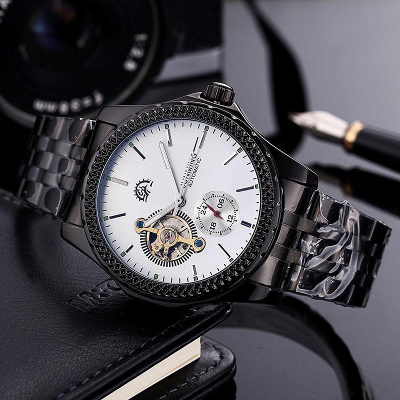 2018 Fashion Tourbillon Mechanical Watch Automatic Men Watches Classic Male Gold Dial Stainless Steel Mechanical WristWatches tevise fashion auto date automatic self wind watches stainless steel luxury gold black watch men mechanical t629a with tool