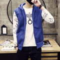 New 2016 Summer Brand Mens Male Slim Fit Hooded Sweatshirt Casual Sleeveless Jacket Vest Outwear Black/Gray Size S-XXL