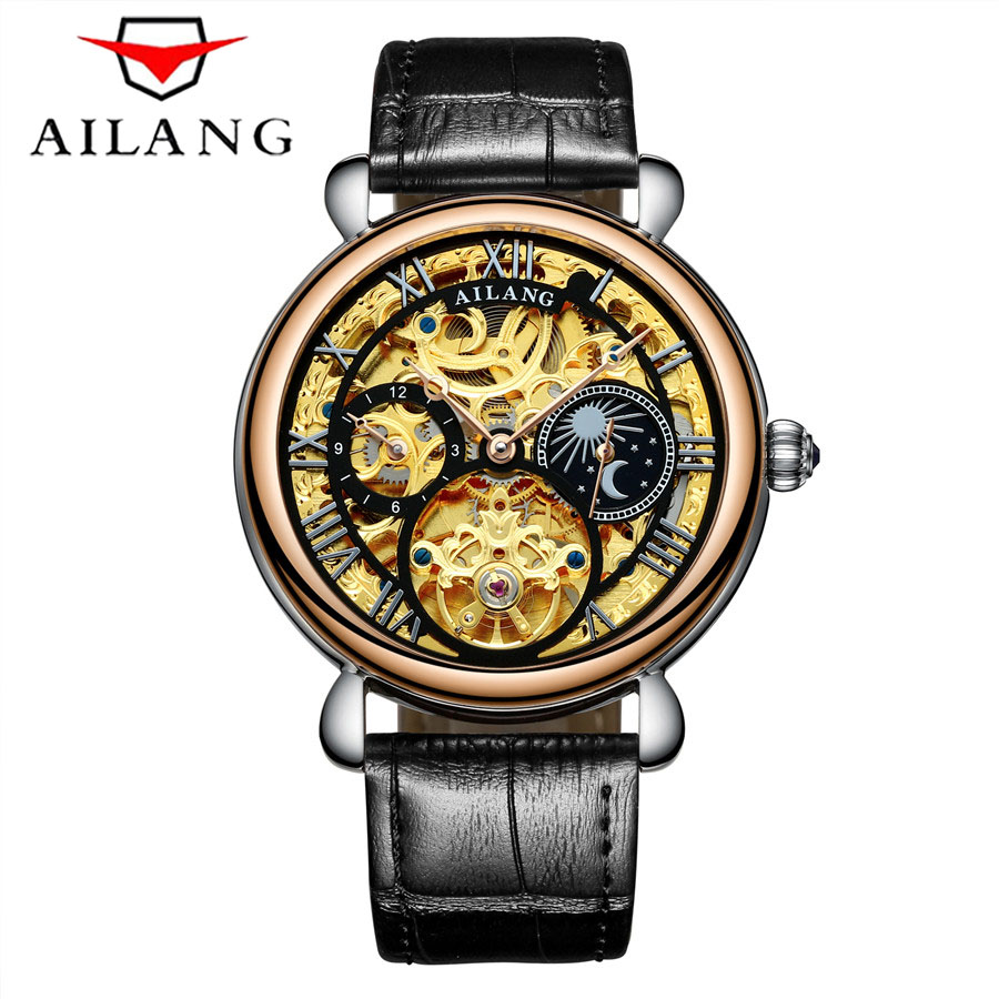AILANG Tourbillon New Business Mens Watches Top Brand Luxury Waterproof Watch Men Mechanical Automatic Wristwatch Skeleton Clock new guanqin mens watches top brand luxury tourbillon skeleton men sport leather strap waterproof automatic mechanical wristwatch