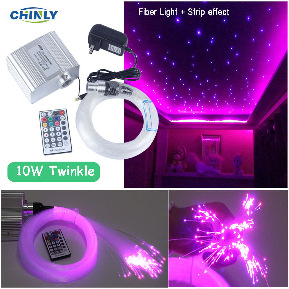 10W glittrande effekt LED Fiber Optic Star Taklampa RGBW Fiber Optic Engine RF Fjärrkontroll Optisk Fiber Star Starlight