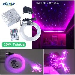10W Twinkle Effect LED Fiber Optic Star Ceiling Light RGBW Fiber Optic Engine RF Remote Control Optical Fiber Car Starry Lights