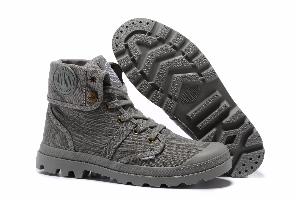 PALLADIUM Pallabrouse All Grey Men High-top Military Ankle Boots Canvas Shoes Men Sport Shoes Hiking shoes
