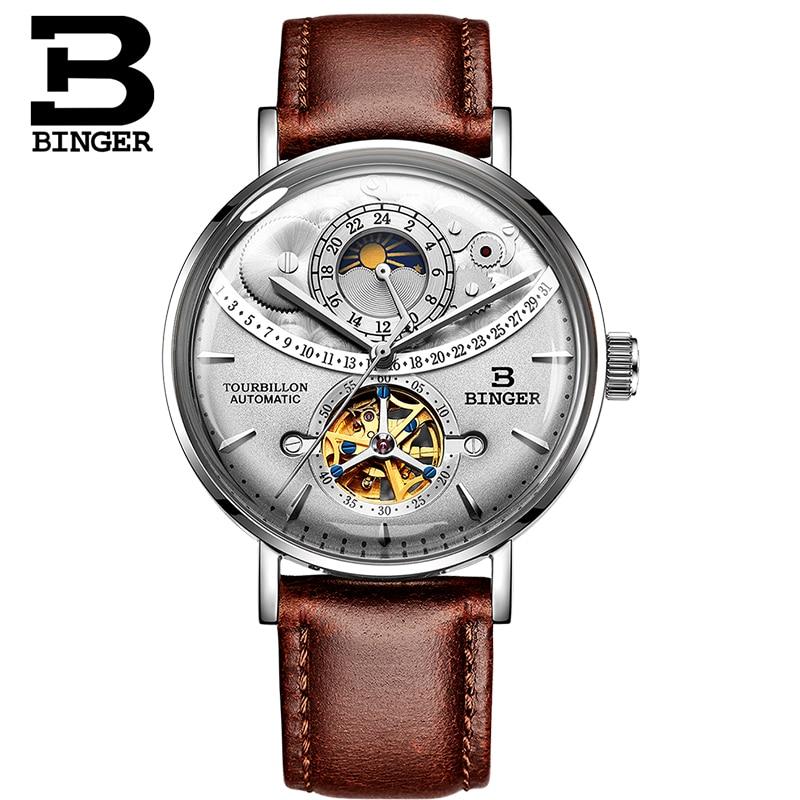 Suisse montre hommes BINGER automatique mécanique hommes montres de luxe marque saphir Relogio Masculino étanche hommes montre B 1 5-in Montres mécaniques from Montres    2