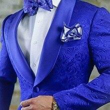 Новое поступление, королевские синие цветочные мужские свадебные костюмы, новейший дизайн, смокинги для жениха, шаль с отворотом, мужской костюм для женихов, мужской блейзер