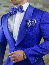 New Arrival Royal Blue Floral Men Suits For Wedding Latest Designs Groom Tuxedos Shawl Lapel Suit Groomsmen Best Man Blazer