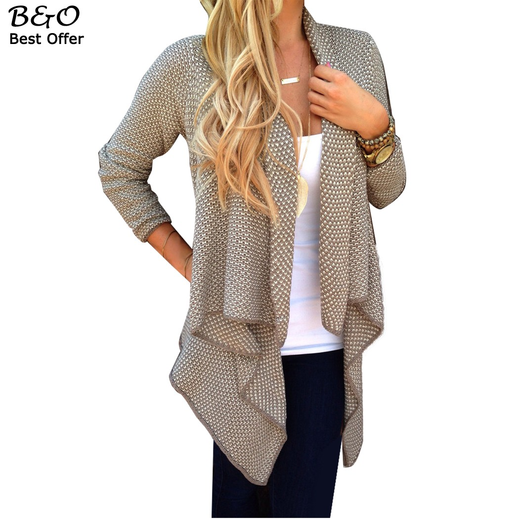 Womens Cardigan Coat Spring Autumn Ladies Long Sleeve Irregular Knitted Sweater Casual Knitwear Female Cardigan Sweaters