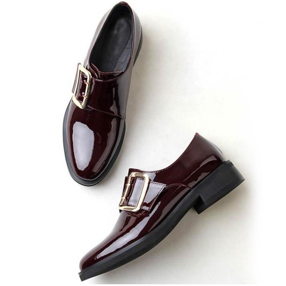 Weiqiaona мода осень новые туфли из натуральной кожи с круглым носком на низком каблуке с закрытым носком ременная пряжка Рим Для женщин; тонкие ... - 3