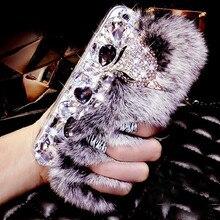 Lancase для iPhone 6 s случай кролика волосы Меха лисьей головы Bling алмаз горный хрусталь ТПУ чехол для iPhone 6 S плюс 7 Plus 5S 5 SE крышка
