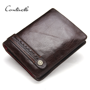 CONTACT'S Bifold Men's Wallets Genuine Leather Wallet Card Holder Coin Pockets Purse Wallet Dark Brown Classic Men Wallets 2018