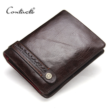 CONTACT'S Bifold Men's Wallets Genuine Leather Wallet Card Holder Coin Pockets Purse Wallets Dark Brown Classic Men Wallet 2017