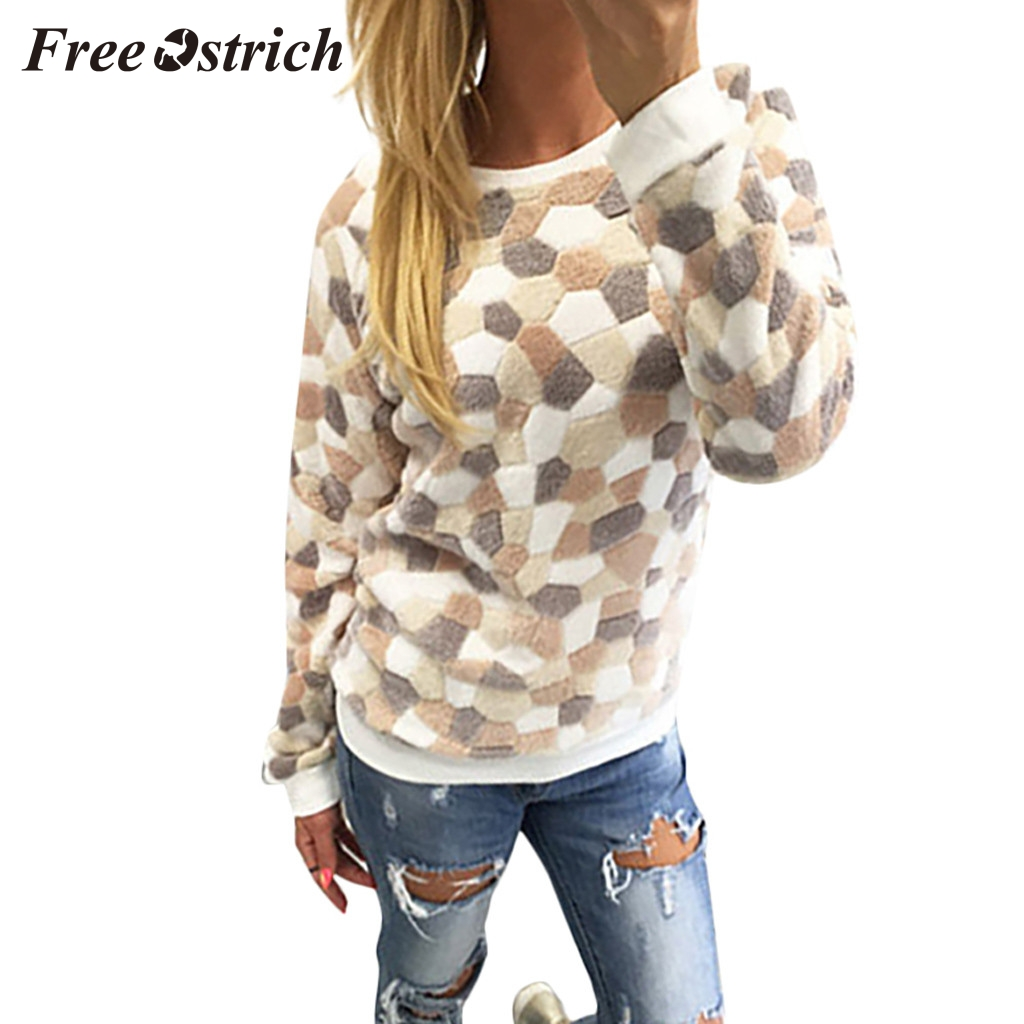 FREE OSTRICH Fashion women's casual round neck long-sleeved stone printed plush sweater polyester regular sleeve sweater 2020