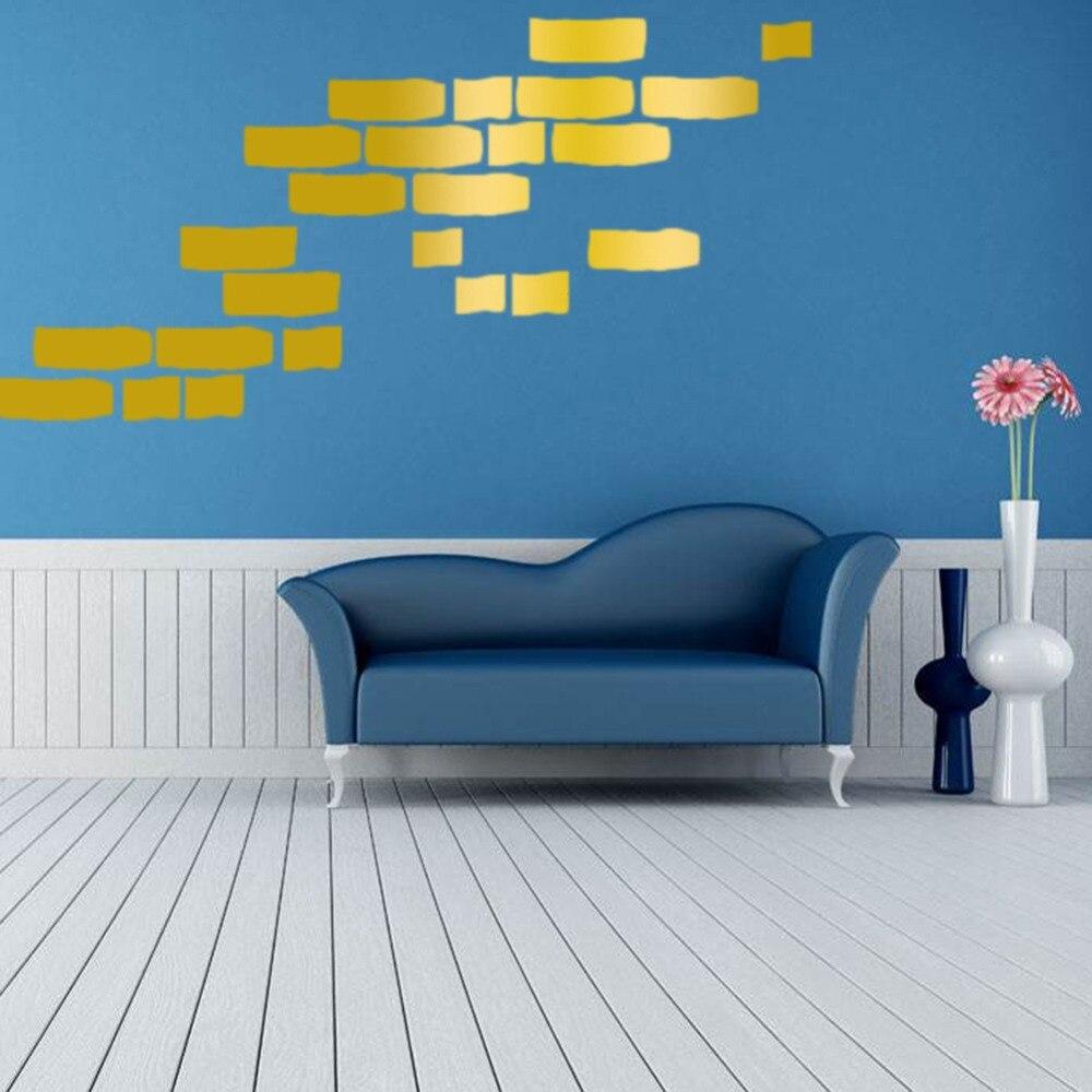 3 colors 27pcs/lot removable bricks pattern decorative wall stcikers ...