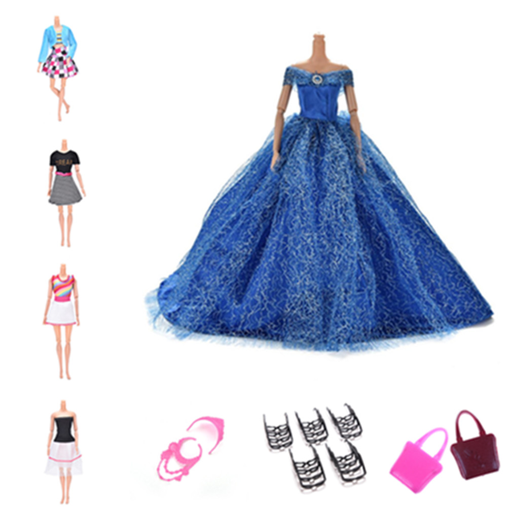 Handmade Wedding Dress Princess Evening Party Ball Gown Skirt Clothes Handbag Ring For Barbie Doll Accessories Xmas Gift Toy