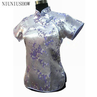 Light Purple Traditional Chinese Women's Satin Polyester Shirt Tops Flower Size S M L XL XXL Free Shipping A0030