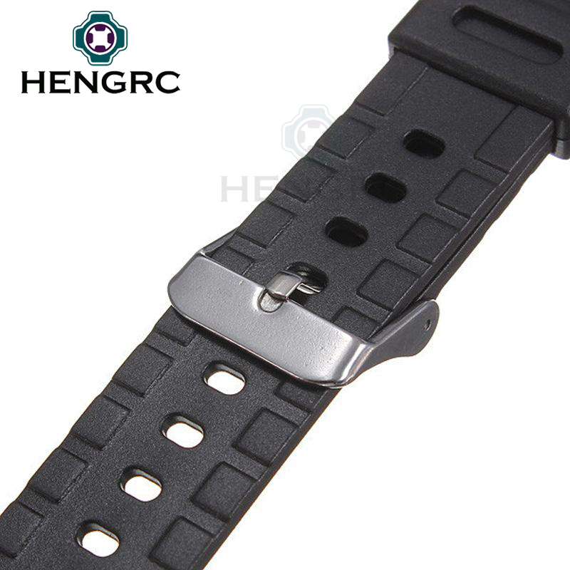 Rubber Watch Band Strap Sport Diving 18 20 22mm Men Silicone Bracelet With Silver Stainless Steel Metal Needle Buckle For Casio in Watchbands from Watches