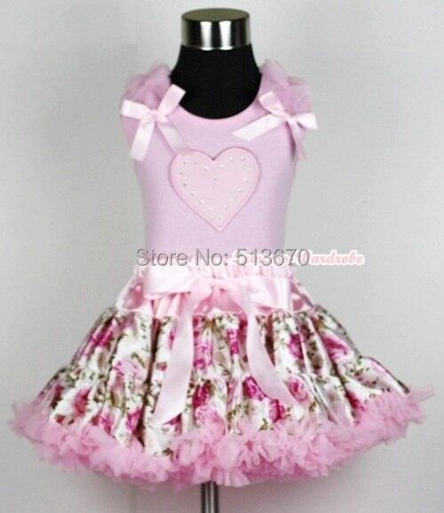 Light Pink Floral Rose Pettiskirt Dress Valentine Heart Ruffle Bow Pink Top 1-8Y MAPSA0231 valentine hot pink romantic rose heart
