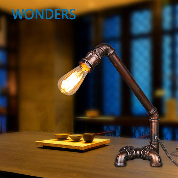 Reative American country vintage water pipe table lamp for bedroom study office restaurant fixture lighting home decoration