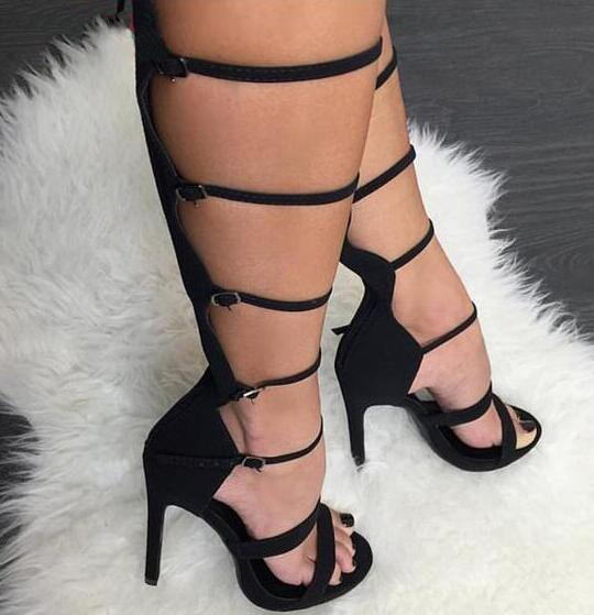 Fashion Black Suede Leather Buckles Ladies Sexy Knee High Gladiator Boots Open Toe Women High Heel Summer Boots Stiletto BootsFashion Black Suede Leather Buckles Ladies Sexy Knee High Gladiator Boots Open Toe Women High Heel Summer Boots Stiletto Boots