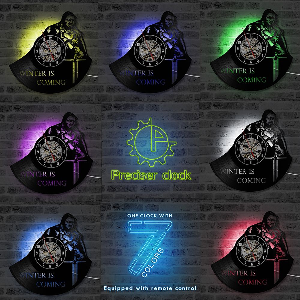 Creative Personalized CD Record Wall Clock Game of Thrones HBO Movie Character LED Vinyl Record Design Best Gift for Boyfriend