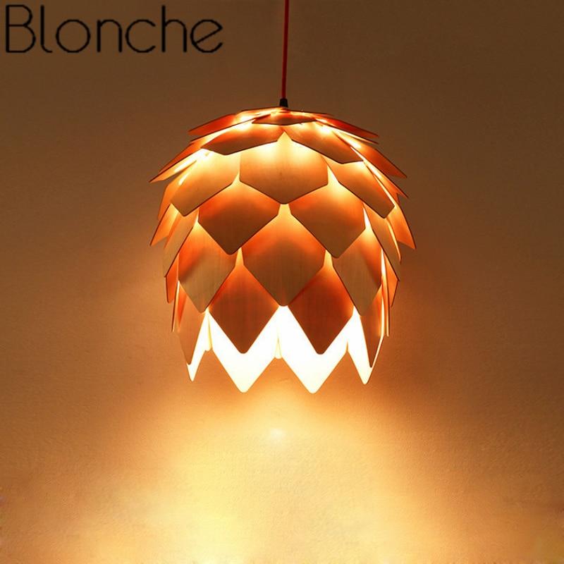 Blonche Modern Pendant Light Wooden Pine Cone Art Hanging Lamp Creative for Restaurant Living Room Kitchen Decor DIY Fixtures in Pendant Lights from Lights Lighting