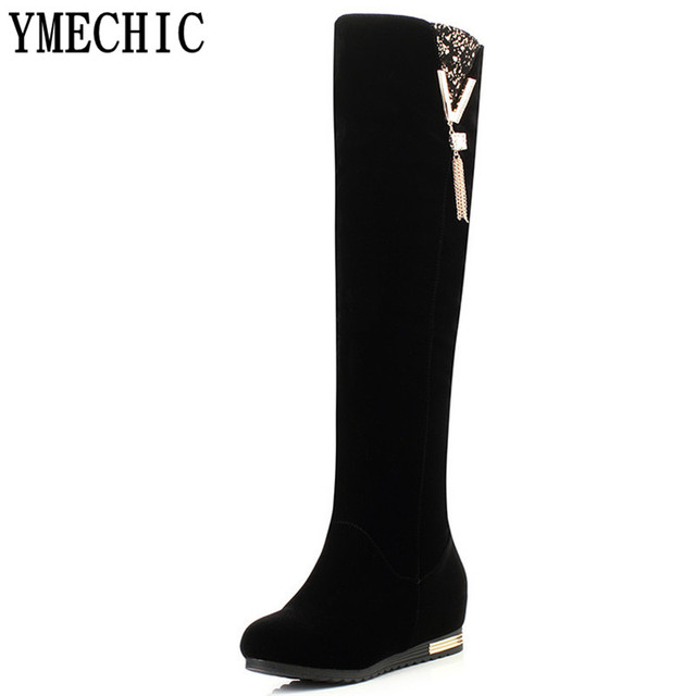 b3db6443a5968 YMECHIC Over Knee High Boots 2018 Winter Shoes Black Wedge Long Botas  Female Thick Wedges Boots Ladies Thigh High Boots Woman
