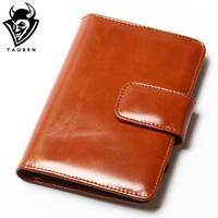 Genuine Leather Women Short Wallet Passport Package Oil Wax Men Wallets Purse Brand Design High Quality