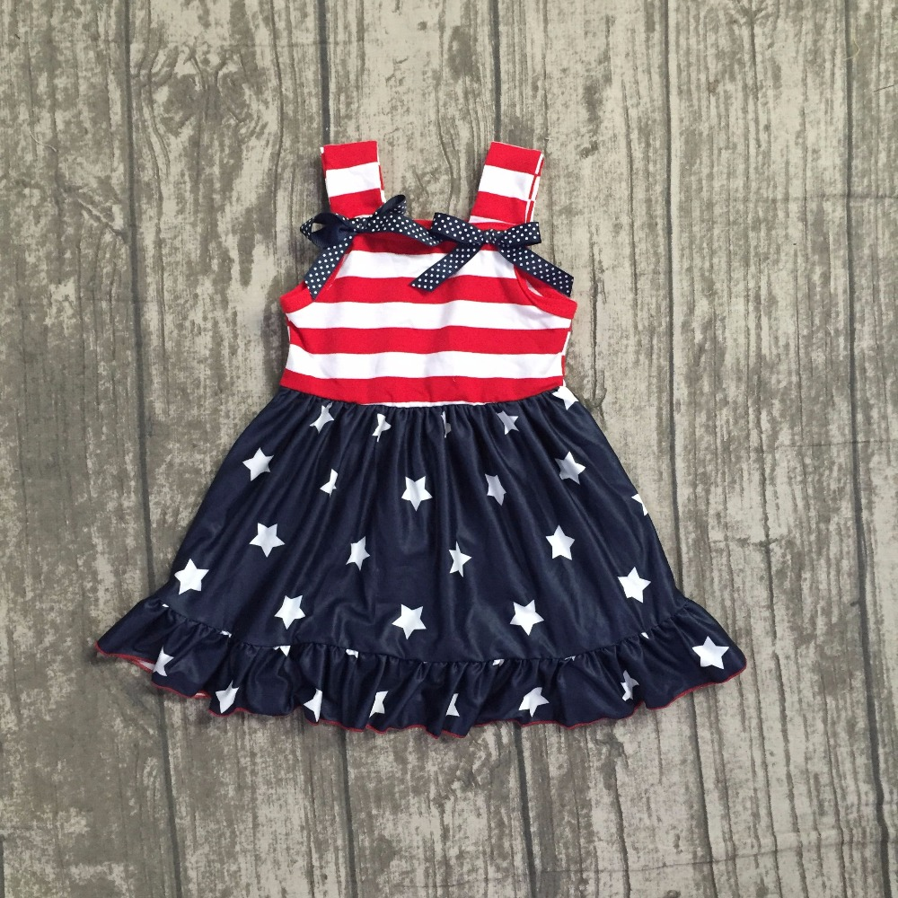 baby girls Summer dress children girls star July 4th dress children top red stripes navy star milk silk dress clothing outfits