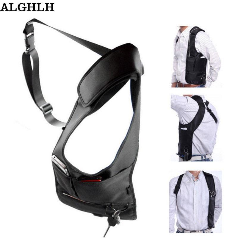 Envío de la gota Las mujeres viajan Armpit Cross-package Hombres Holster Messenger Bag Underarm Phone Burglarproof Bolsa de almacenamiento de hombro