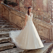 Liyuke Vintage Off The Shoulder Sleeve V-Neckline A-Line Wedding Dress With Buttons Gown