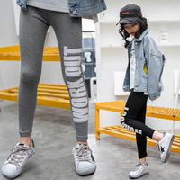 Детская одежда весна 2018 корейской моды с принтом букв для девочек леггинсы для детей и подростков одежда танцев хип-хоп штаны для девочек бр...