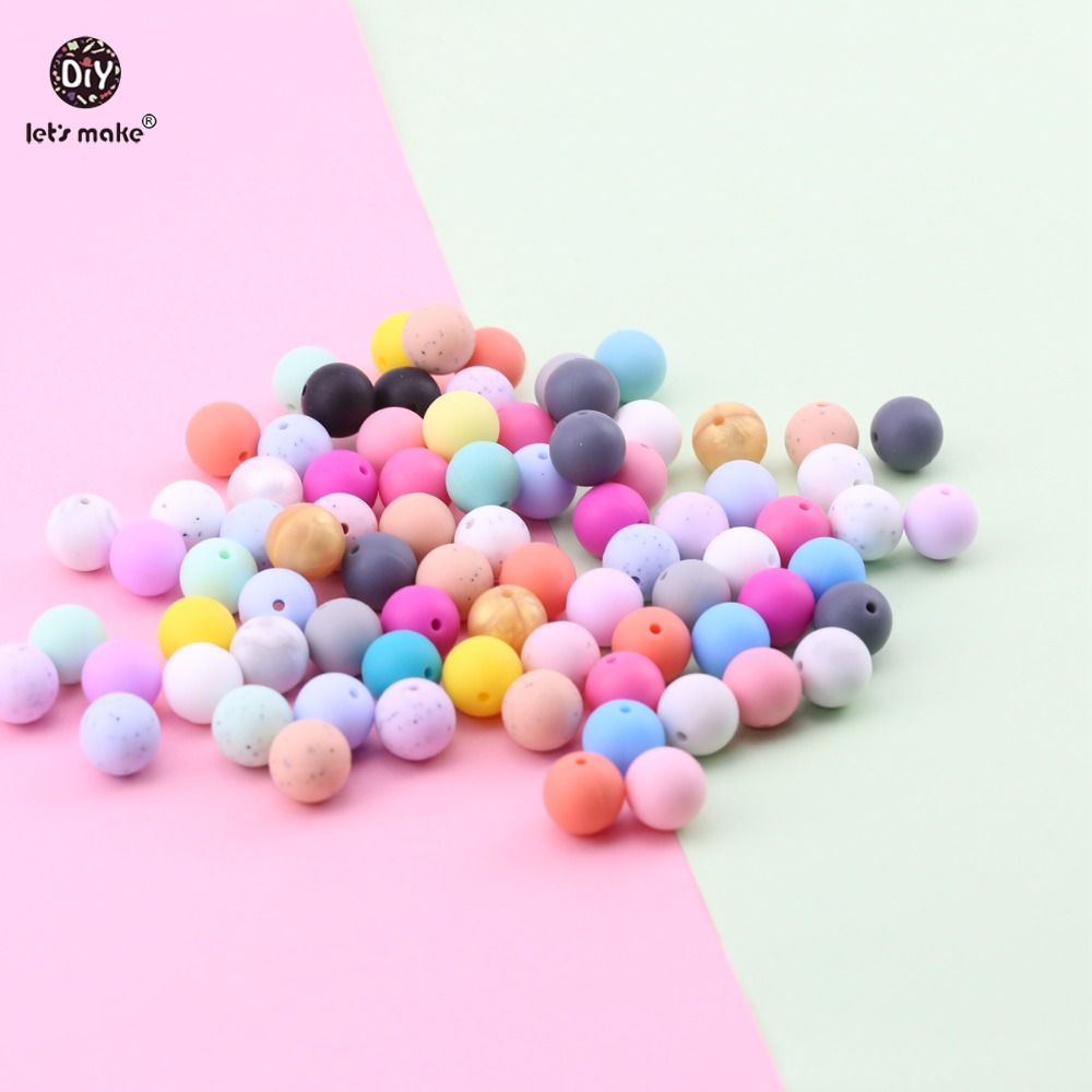 Let's Make 20mm 10pc Baby Accessories Food Grade Silicone Beads DIY Jewelry Bracelet Chew Teething Toys Baby Gifts Baby Teether