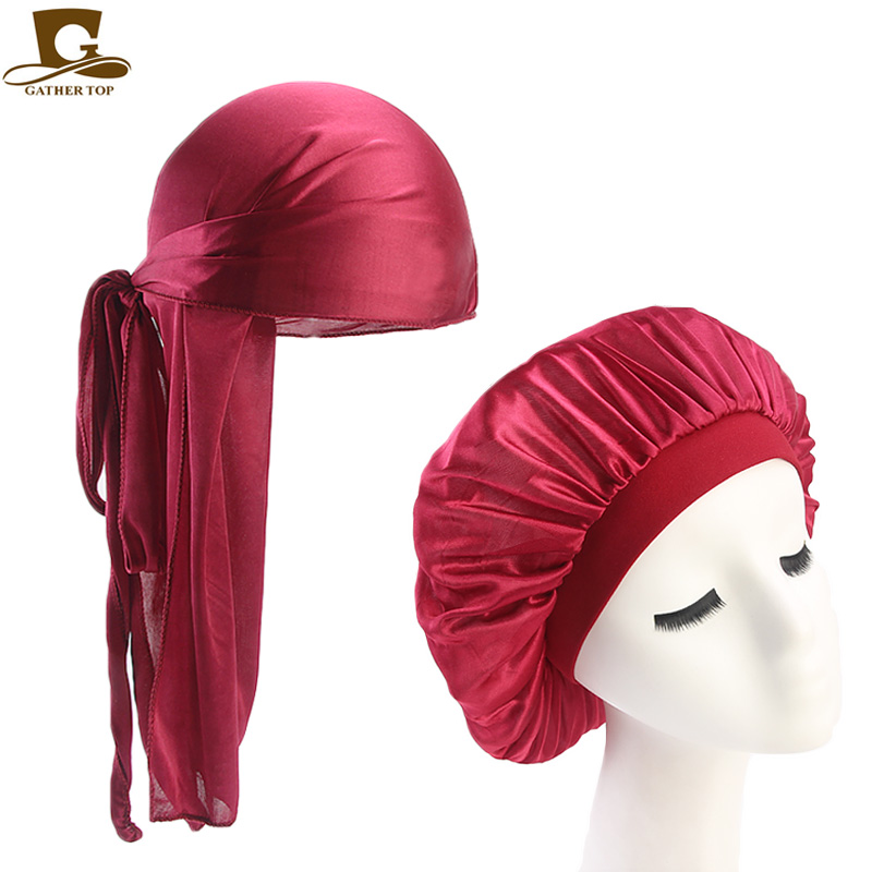 Unisex Silky <font><b>Durag</b></font> Long Tail And Wide Straps Waves For <font><b>men</b></font> Solid Wide Doo Rag Bonnet Cap Comfortable Sleeping Hat image