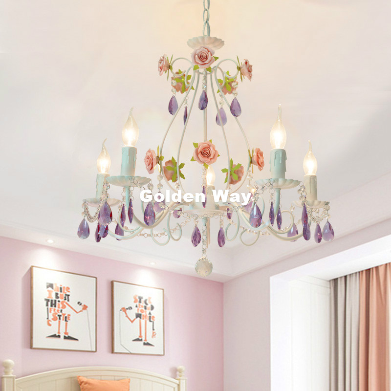 European White Pink Rose Style Chandelier Light Purple Crystals Pendant Lamp Indoor Iron Crystal Chandelier Dining Room Lighting