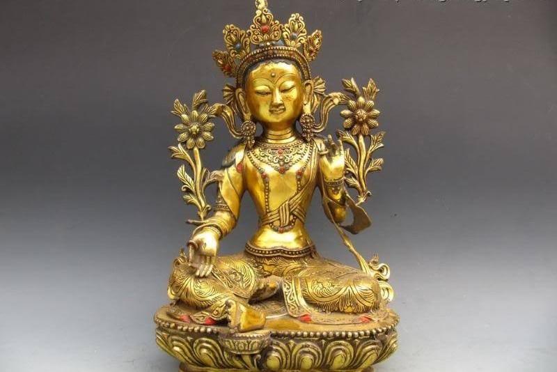 Buddhism Bronze Gild Lotus Flower Green TaRa GuanYin Kwan-Yin Buddha Statue