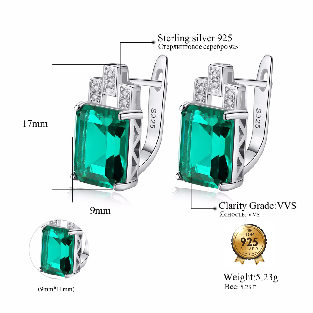 DR Fashion Princess Topaz Genuine 925 Sterling Silver Stud Earrings for Women Engagement Wedding Gift Statement Earrings in Earrings from Jewelry Accessories