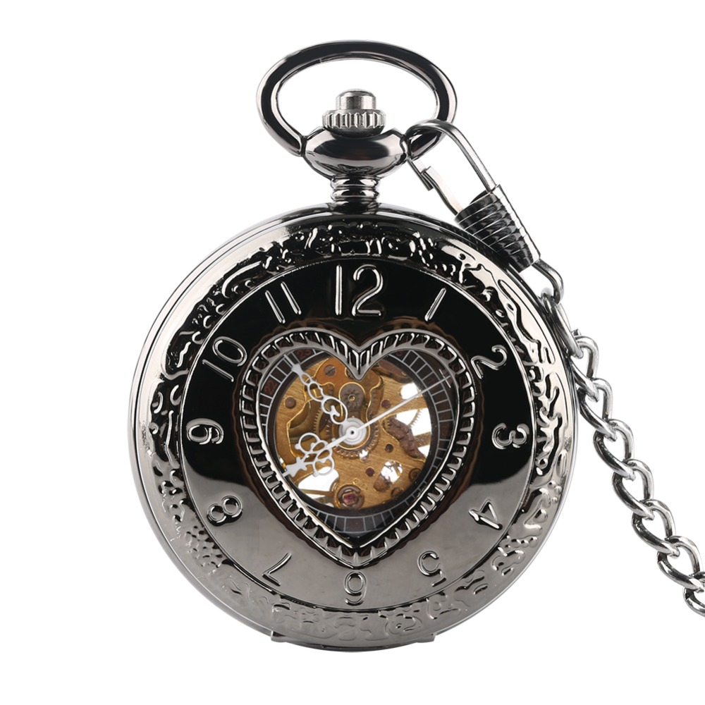 Retro LOVER Heart Shape Cover Men Mechanical Pocket Watch Hollow Steampunk Skeleton Men Women Mens Male Clock Watches 30cm Chain
