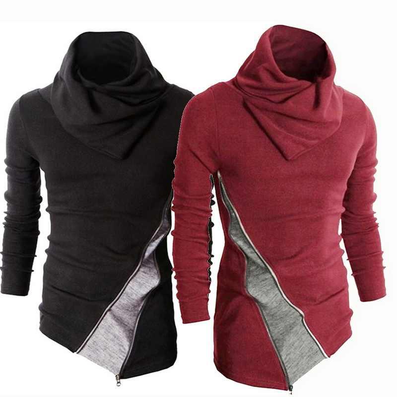 Мужские модные свитера с длинными рукавами разных цветов, новинка 2019, Повседневные вязаные топы на молнии с воротником-хомутом