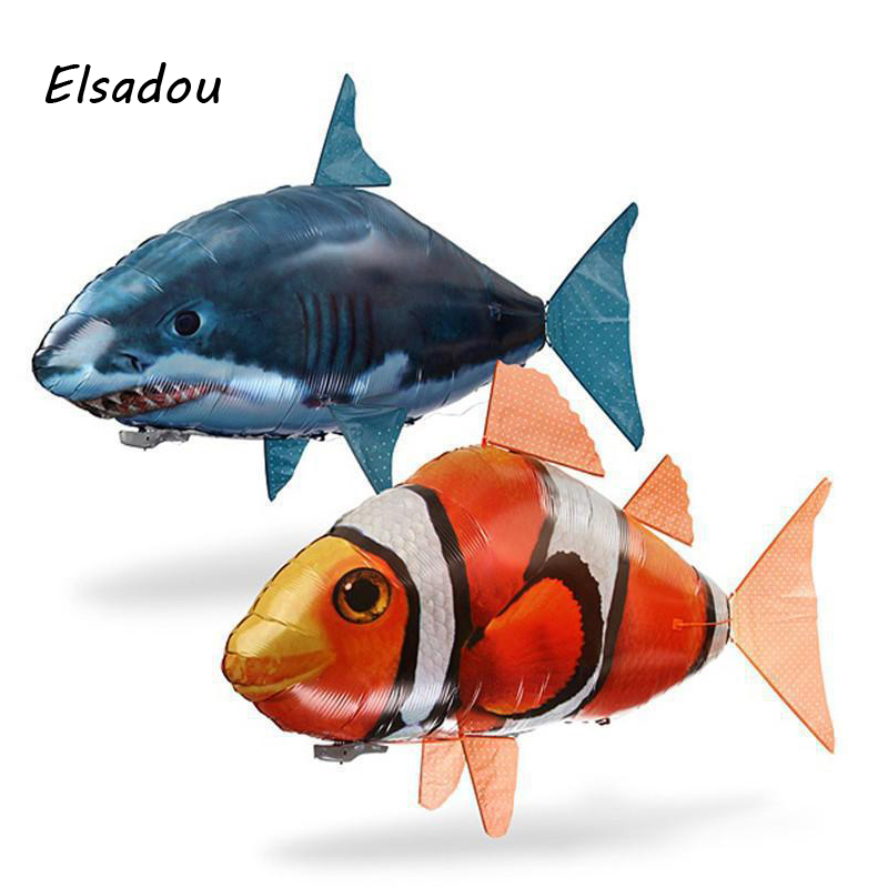 Elsadou RC Air Swimming Fish font b Toys b font Drone RC Shark Clown Fish Balloons