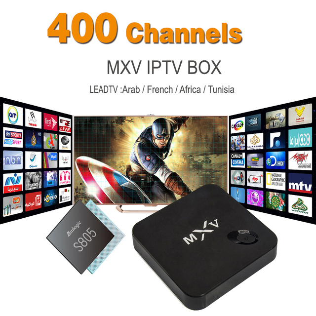 Arabic French IPTV Box Android TV Box MXV Support 400+ Live TV Channels Canal+ African Tunisia French Iptv Set Top Box Free Test