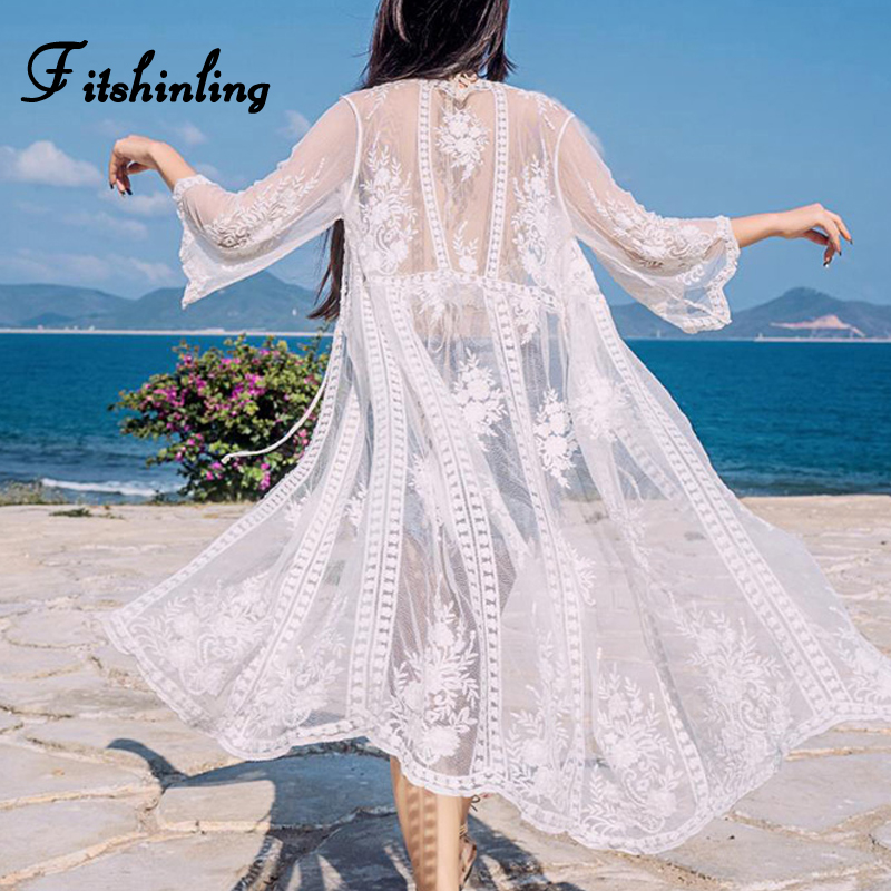 Fitshinling Boho summer beach cover-up lace see through sexy hot kimono swimwear holiday white long cardigan bikini outer cover