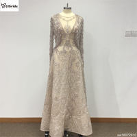 Surmount Customized Luxury Two Pieces Woment Evening Dress Nude Pink Color with Jacket Wide waisted Mother of the Bride Dresses
